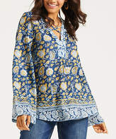 Suzanne Betro Weekend Women's Tunics 101CADET - Cadet Blue & Marigold Floral Caged-Front Tunic - Women