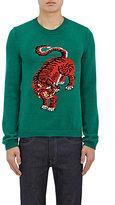 Gucci Men's Tiger-Intarsia Wool Sweater-GREEN
