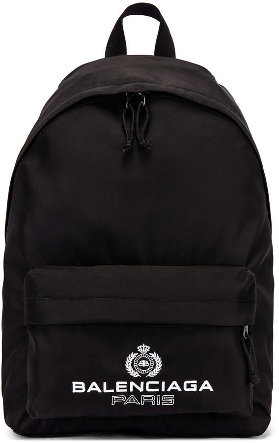 Balenciaga Paris Laurel Explorer Backpack in Black   FWRD
