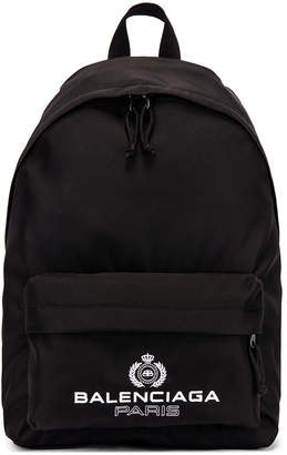 Balenciaga Paris Laurel Explorer Backpack in Black | FWRD