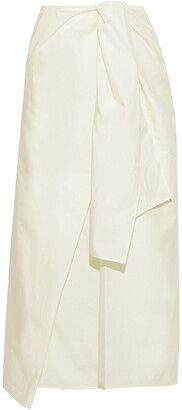 Joseph Perrin Tie-front Cotton And Silk-blend Poplin Midi Skirt