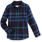 Burberry Fred Mini Long-Sleeve Check Shirt, Bright Navy, Size 4-14