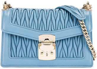Miu Miu Leather Shoulder Bag in Astrale | FWRD
