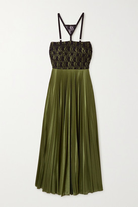 Christopher Kane Lace-paneled Pleated Satin Maxi Dress - Green