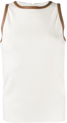 Ralph Lauren Collection Lambskin Trimmed Tank Top