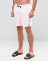 Asos Swim Shorts In Pink With Triangle Logo Print Mid Length