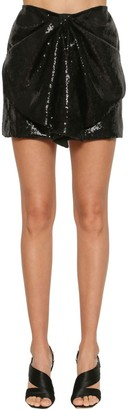 Ingie Paris Sequined Draped Mini Skirt