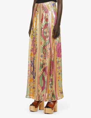 Etro Capri embroidery-print metallic-silk skirt