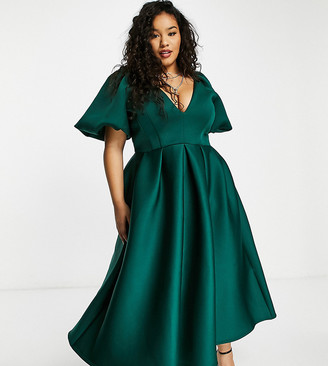 True Violet Plus exclusive prom skater midi dress in forest green