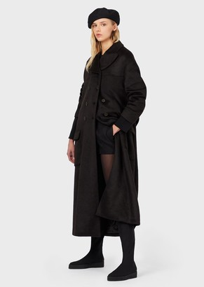 Emporio Armani R-Ea Oversized Double-Breasted Coat In A Wool Blend