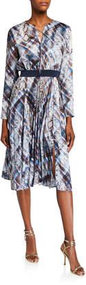 Ted Baker Quartz Printed Long-Sleeve Midi Dress