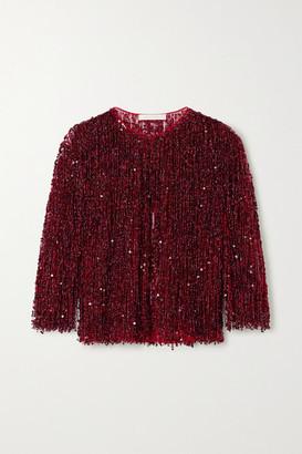 Naeem Khan Embellished Fringed Tulle Jacket - Claret