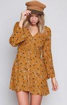 Beginning Boutique Praire Girl Long Sleeve Dress Mustard Floral
