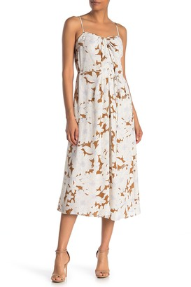 Vince Tropical Blooms Twist Front Midi Dress
