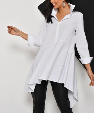 New Laviva Women's Blouses White - White Collared V-Neck Sidetail Top - Women