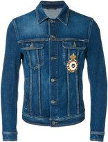 Dolce & Gabbana patch appliqué denim jacket - men - Cotton/Calf Leather/Spandex/Elastane - 46