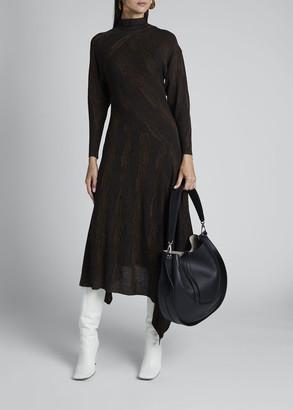 Proenza Schouler Wavy Jacquard High-Neck Dress
