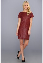 Hale Bob - Joplin S/S Coated Suede Dress (Oxblood) - Apparel