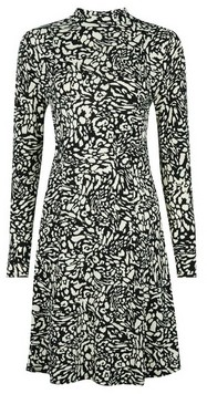 Dorothy Perkins Womens Monochrome Printed High Neck Swing Dress