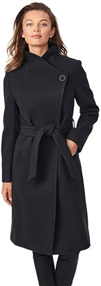 Bernardo Fashions Smooth Wool Coat with Belt (Black) Women's Coat