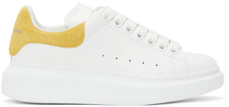 Alexander McQueen White and Yellow Snake Oversized Sneakers