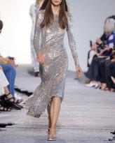 Michael Kors Metallic Leaf-Embellished Midi Dress