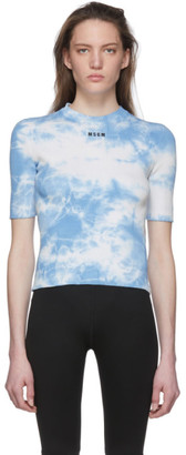 MSGM Blue and White Tie-Dye T-Shirt