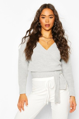 boohoo Wrap Knitted Sweater