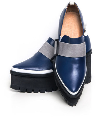 Jamie Wei Huang Georria Leather Platform Loafer Navy-grey