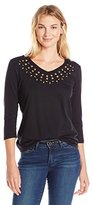Sag Harbor Women's 3/4 Slv V-Neck Stud Embroidered Knit
