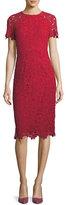 Shoshanna Scalloped Short-Sleeve Floral Lace Sheath Dress