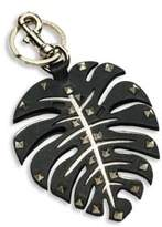 Valentino Tropical Leaf Leather Keychain