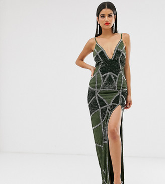 Asos Tall DESIGN Tall sexy pencil maxi dress with embellished panels-Multi
