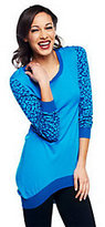Hudson Jennifer Collection Sweater with Animal Print Sleeve Detail