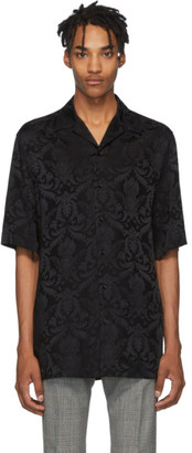 Versace Black Silk Damask Short Sleeve Shirt