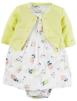 Carter's 2-Piece Babysoft Floral Print Bodysuit Dress and Cardigan Set in Yellow/Pink