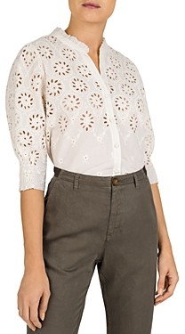 Gerard Darel Neel Cotton Embroidered Eyelet Top
