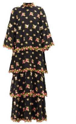 Andrew Gn Tiered Floral-embroidered Silk-blend Crepe Dress - Womens - Black