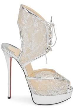 Christian Louboutin Jose Altafine 150 Lurex Lace Platform Wedge Sandals