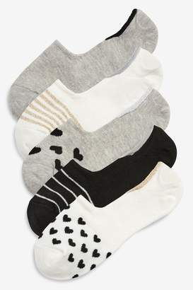 Next Womens Heart/Stripe Pattern Invisible Trainer Socks Five Pack - Black