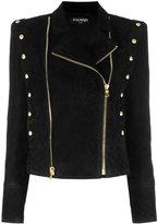 Balmain double zip biker jacket - women - Cotton/Lamb Skin/Viscose - 34