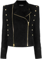 Balmain double zip biker jacket - women - Cotton/Lamb Skin/Viscose - 36