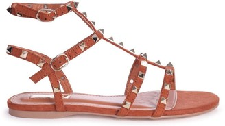 Linzi VIOLET - Toffee Suede All Over Studded Gladiator Sandal