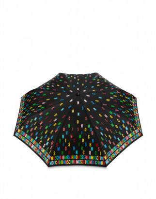 Moschino Openclose Multicolor Lettering Umbrella Woman Black Size Single Size