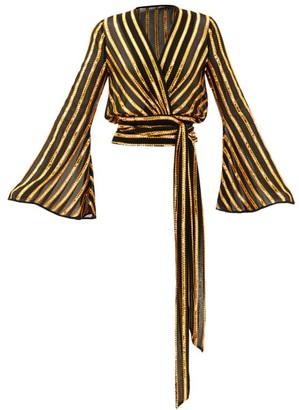 Galvan Pride Sequinned Striped Wrap Blouse - Black Gold