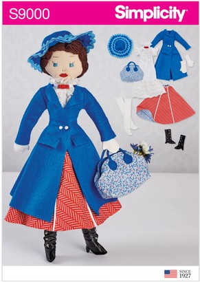 Simplicity Craft Stuffed Doll and Outfit Sewing Pattern, 9000