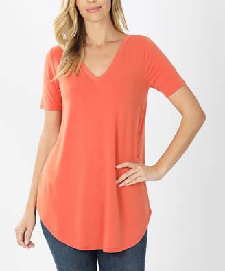 Ash Zenana Women's Tee Shirts  Copper Round-Hem V-Neck Tee - Women & Plus