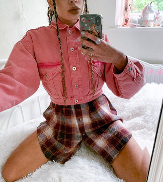 Collusion cropped jacket in vintage wash pink