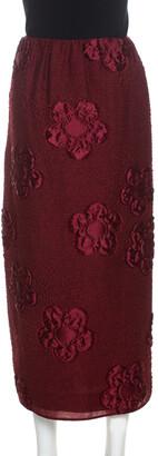 Fendi Burgundy Floral Jacquard Midi Skirt M