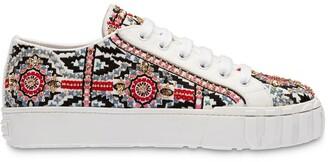 Miu Miu Embroidered Denim Sneakers
